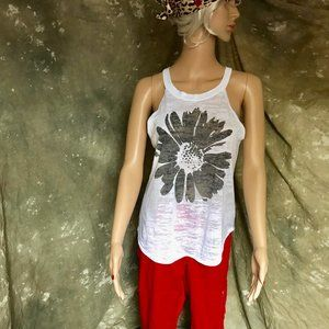 Sleeveless top with halter collar, sheer, size L